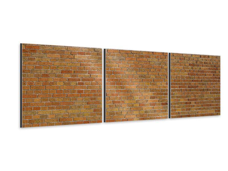 Panorama Aluminiumbild 3-teilig Backsteinhintergrund
