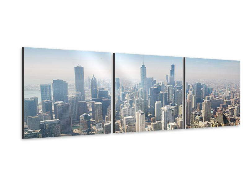Panorama Aluminiumbild 3-teilig Wolkenkratzer Chicago
