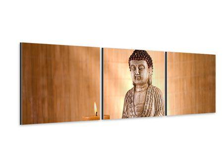Panorama Aluminiumbild 3-teilig Buddha in der Meditation