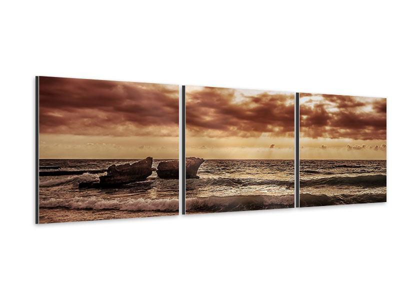 Panorama Aluminiumbild 3-teilig Meeresrauschen