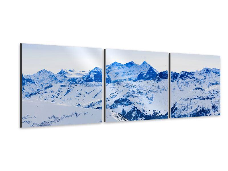 Panorama Aluminiumbild 3-teilig Die Schweizer Alpen