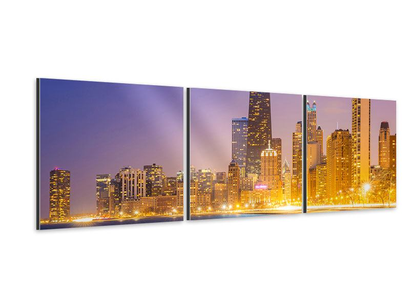 Panorama Aluminiumbild 3-teilig Skyline Chicago in der Nacht