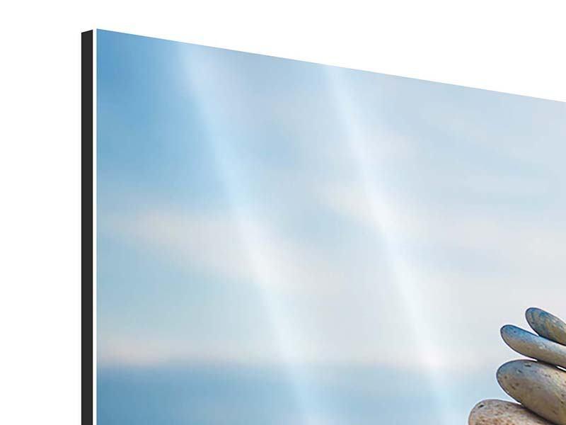 Panorama Aluminiumbild 3-teilig Drei Steinstapel