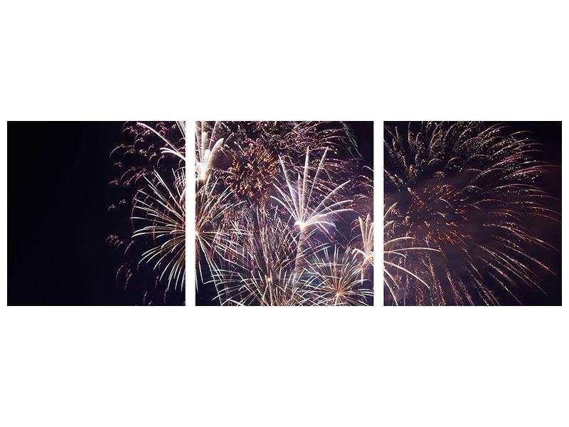 Panorama Aluminiumbild 3-teilig Feuerwerk