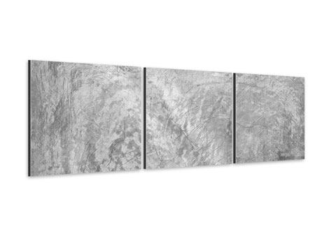 Panorama Aluminiumbild 3-teilig Wischtechnik in Grau