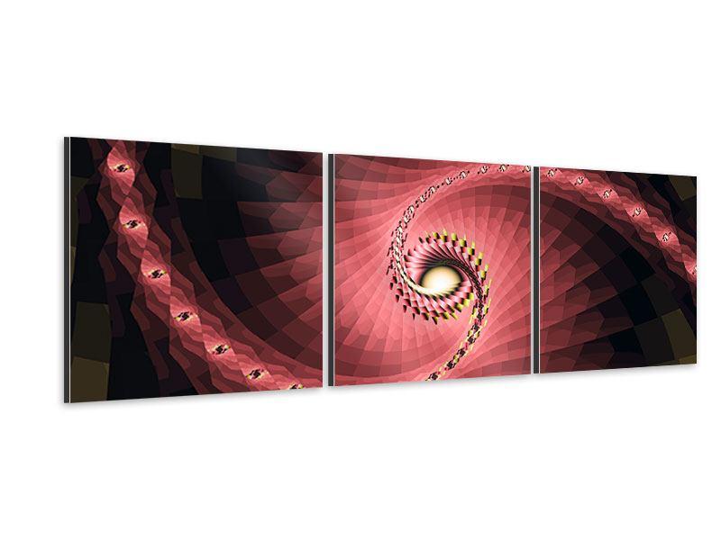 Panorama Aluminiumbild 3-teilig Abstrakte Windungen