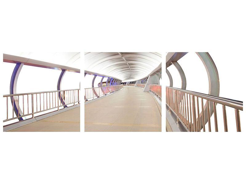 Panorama Aluminiumbild 3-teilig Brückenfeeling