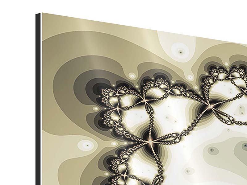 Panorama Aluminiumbild 3-teilig Abstrakter Schmetterling