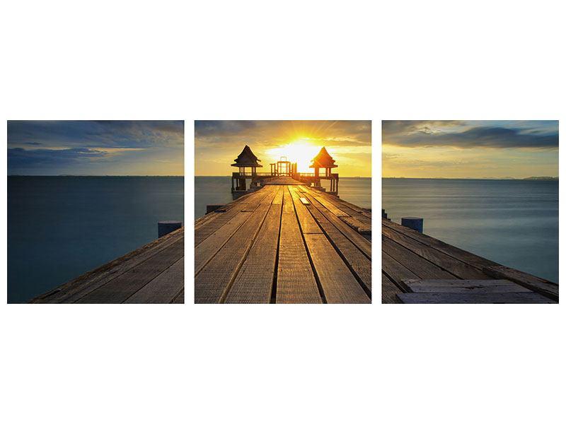 Panorama Aluminiumbild 3-teilig Der Sonnenuntergang bei der Holzbrücke