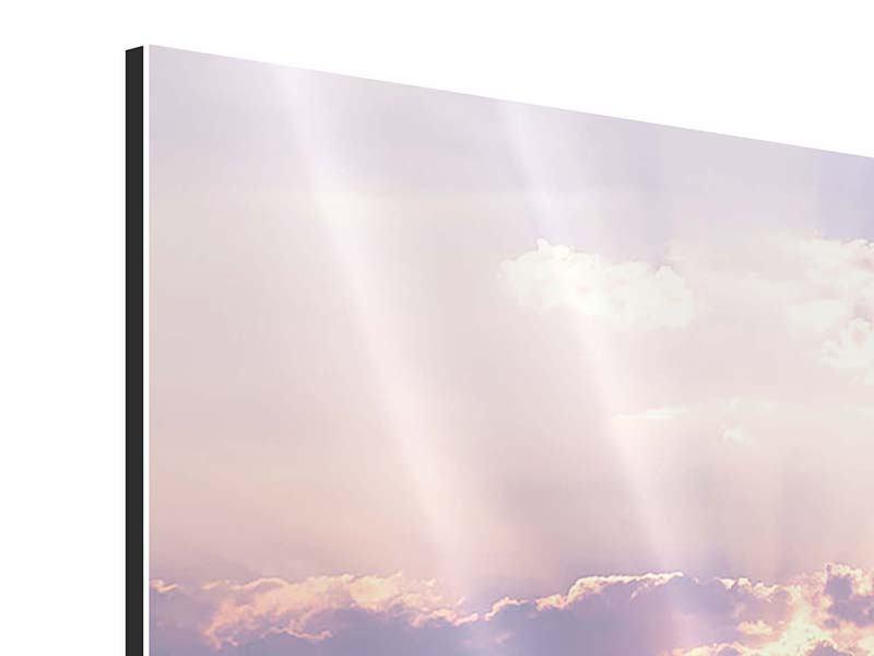 Panorama Aluminiumbild 3-teilig Sonnenaufgang am Meer