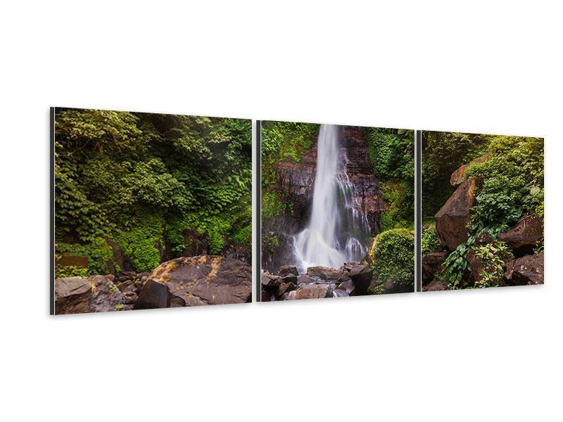 Panorama Aluminiumbild 3-teilig Wasserfall Bali