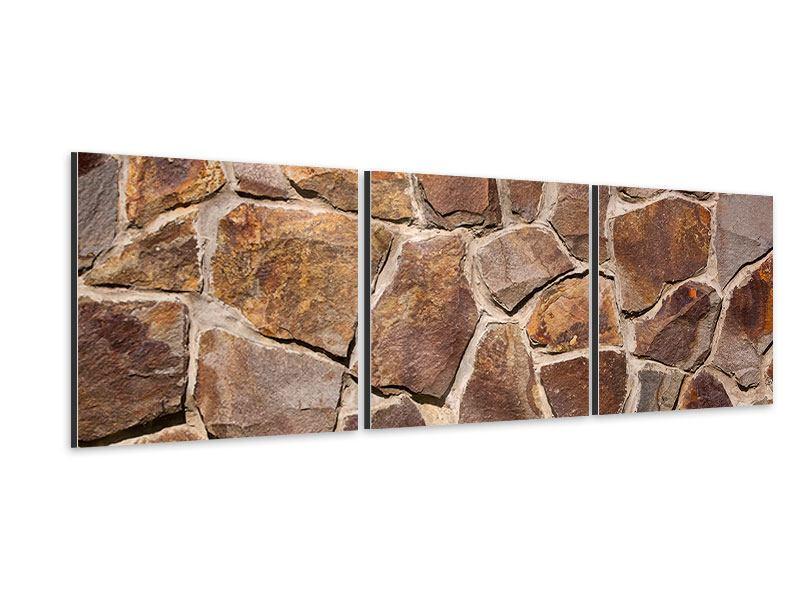 Panorama Aluminiumbild 3-teilig Designmauer
