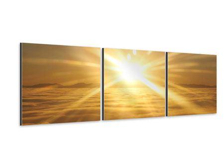 Panorama Aluminiumbild 3-teilig Über dem Wolkenmeer