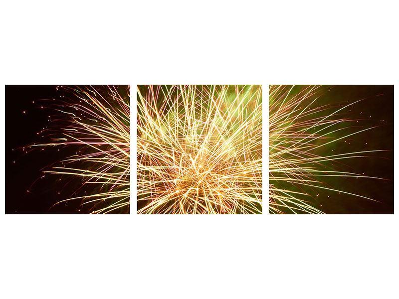 Panorama Aluminiumbild 3-teilig Feuerwerk XXL