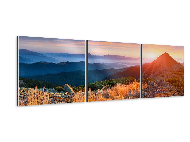 Panorama Aluminiumbild 3-teilig Sonnenuntergang in den Alpen