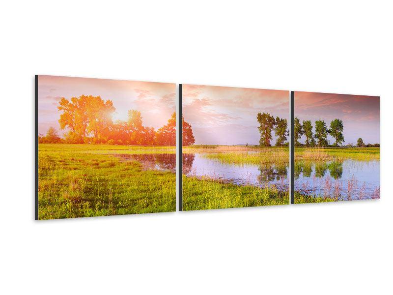 Panorama Aluminiumbild 3-teilig Sonnenuntergang am See