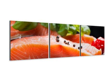Panorama Aluminiumbild 3-teilig Frischer Fisch