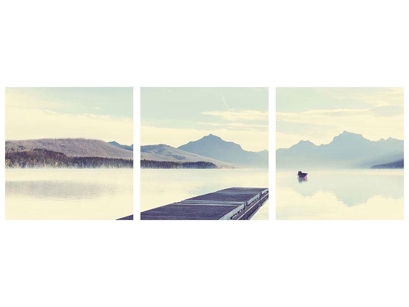Panorama Aluminiumbild 3-teilig Bergromantik