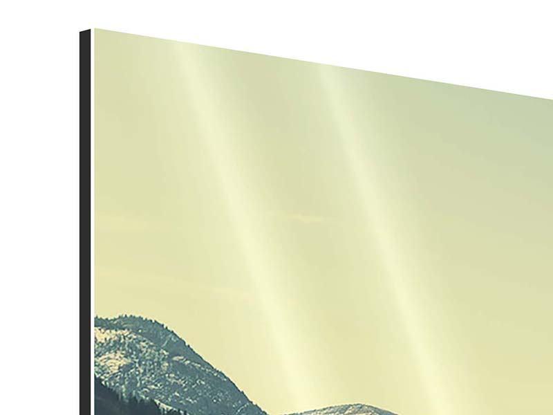 Panorama Aluminiumbild 3-teilig Der Bergsee
