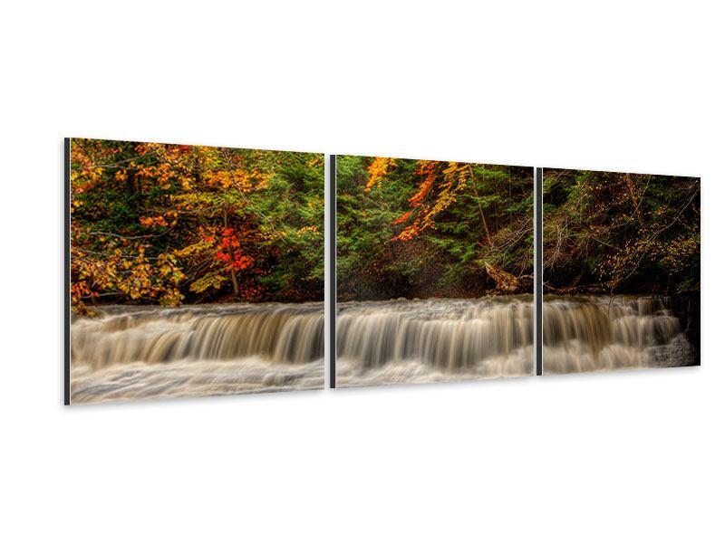 Panorama Aluminiumbild 3-teilig Herbst beim Wasserfall