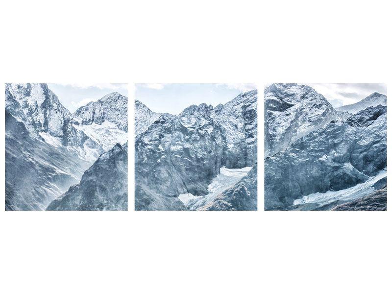 Panorama Aluminiumbild 3-teilig Gigantische Berggipfel