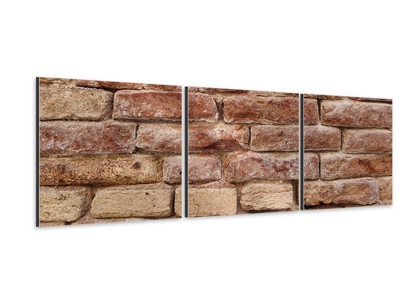 Panorama Aluminiumbild 3-teilig Loft-Mauer