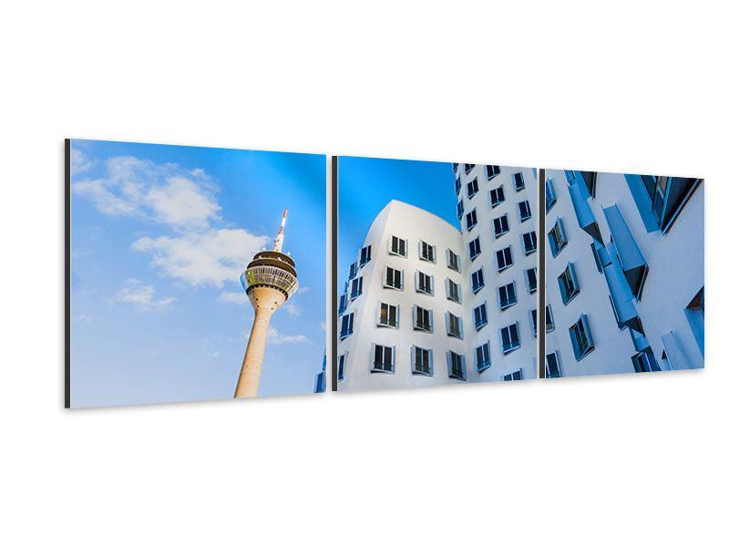Panorama Aluminiumbild 3-teilig Neuer Zollhof Düsseldorf