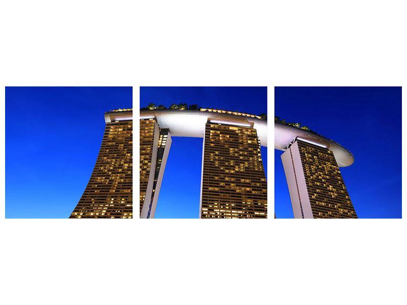 Panorama Aluminiumbild 3-teilig Wolkenkratzer Singapur