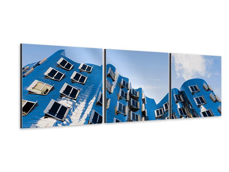 Panorama Aluminiumbild 3-teilig Neuer Zollhof
