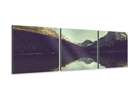 Panorama Aluminiumbild 3-teilig Spiegelung im Bergsee