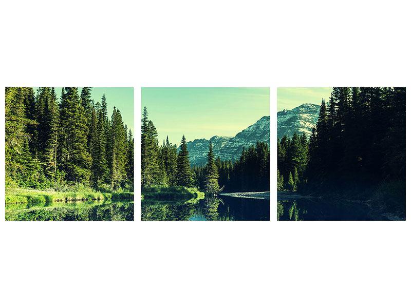 Panorama Aluminiumbild 3-teilig Die Musik der Stille in den Bergen