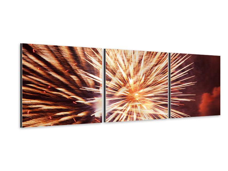 Panorama Aluminiumbild 3-teilig Close Up Feuerwerk