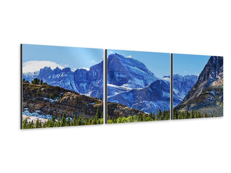 Panorama Aluminiumbild 3-teilig Dem Gipfel entgegen