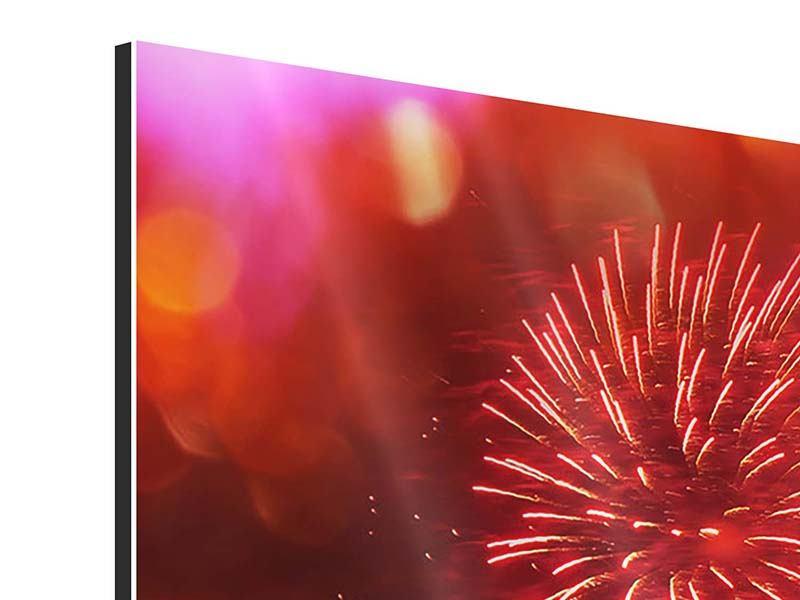 Panorama Aluminiumbild 3-teilig Buntes Feuerwerk