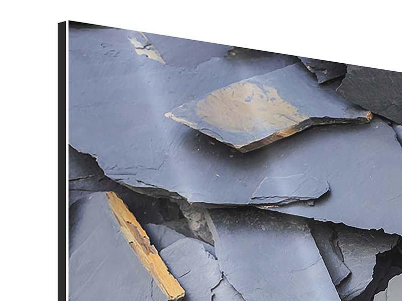 Panorama Aluminiumbild 3-teilig Schieferplatten