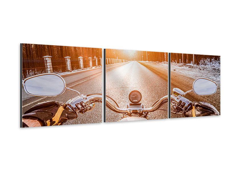 Panorama Aluminiumbild 3-teilig Auf dem Motorrad