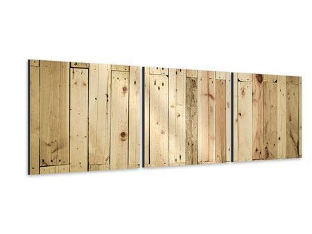 Panorama Aluminiumbild 3-teilig Holzpaneelen