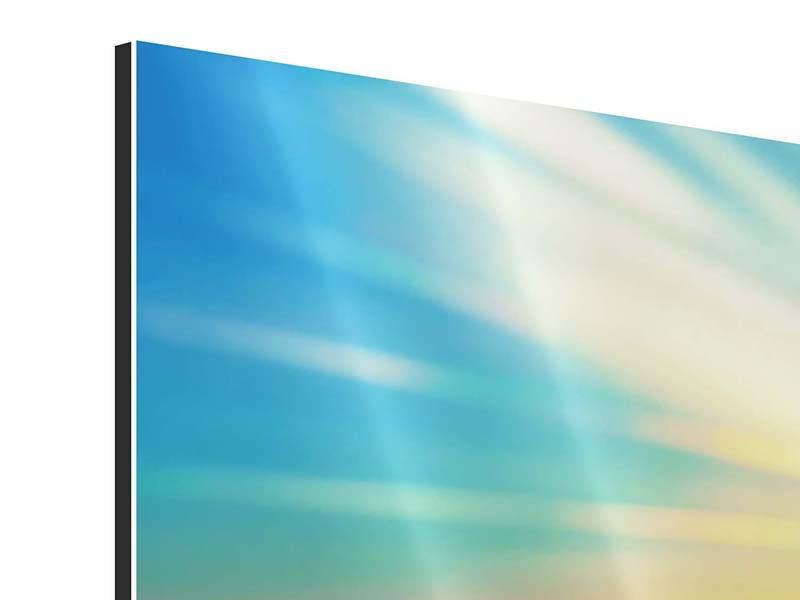 Panorama Aluminiumbild 3-teilig Sonnenuntergang über den Wolken