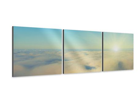 Panorama Aluminiumbild 3-teilig Dämmerung über den Wolken