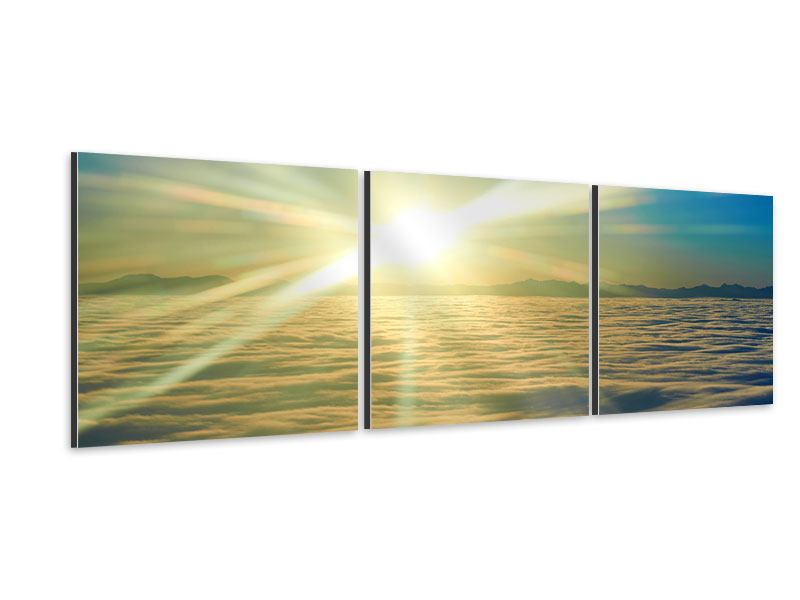 Panorama Aluminiumbild 3-teilig Sonnenaufgang über den Wolken