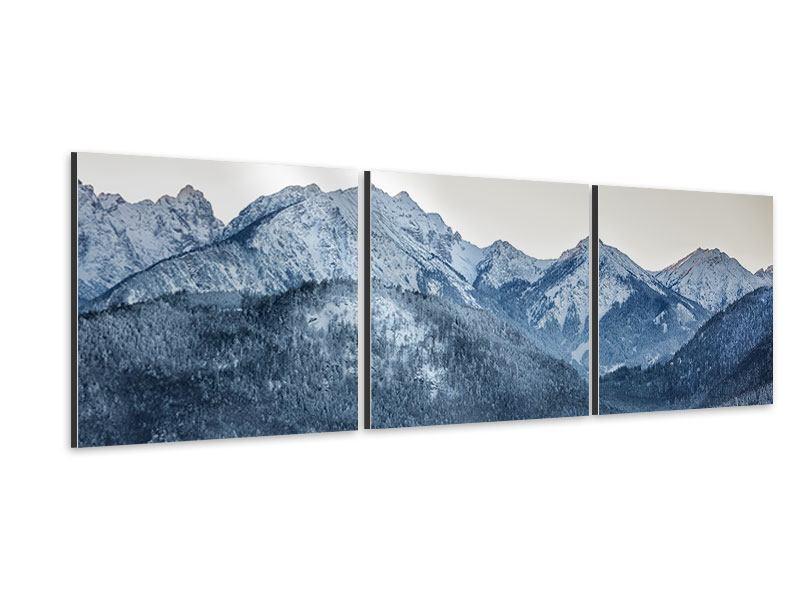 Panorama Aluminiumbild 3-teilig Schwarzweissfotografie Berge
