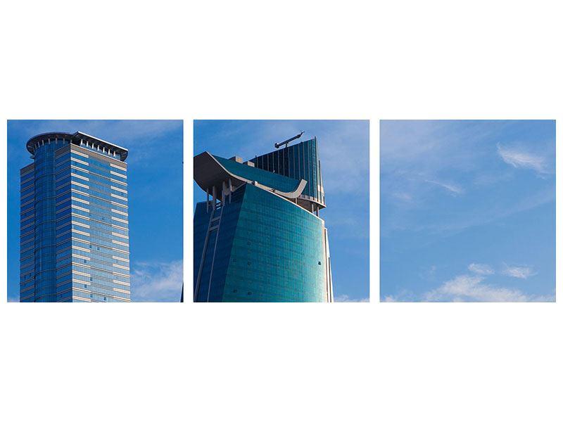 Panorama Aluminiumbild 3-teilig Zwei Wolkenkratzer