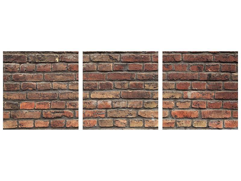 Panorama Aluminiumbild 3-teilig Brick Wall