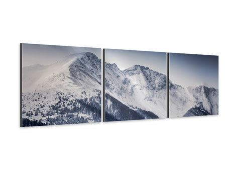 Panorama Aluminiumbild 3-teilig Die Berge der Schweiz