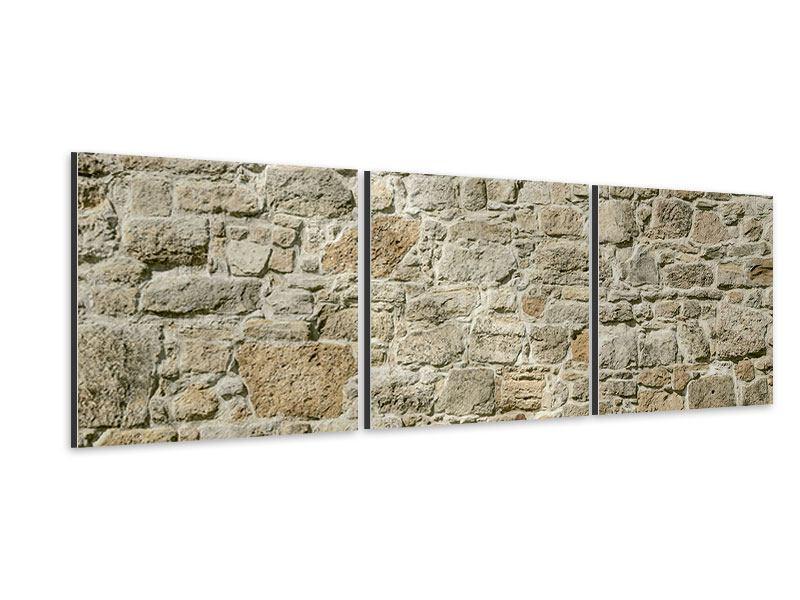 Panorama Aluminiumbild 3-teilig Naturmauer
