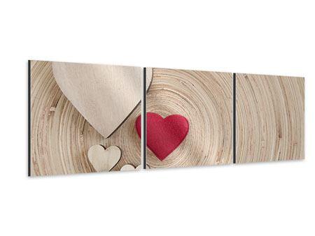 Panorama Aluminiumbild 3-teilig Herzen