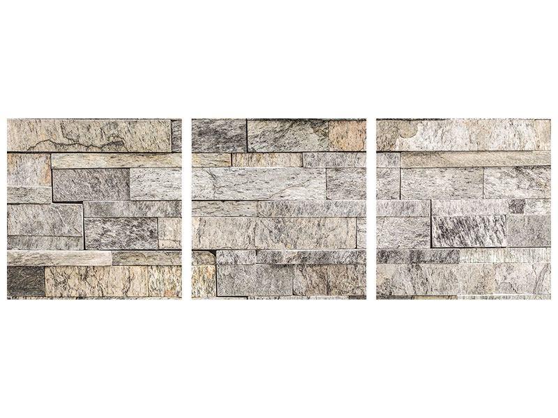 Panorama Aluminiumbild 3-teilig Elegante Steinmauer