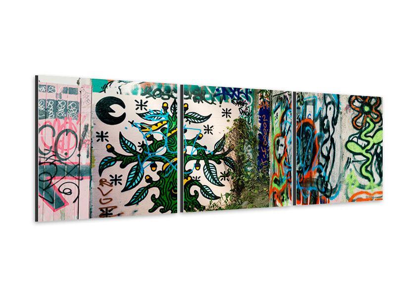 Panorama Aluminiumbild 3-teilig Graffiti im Hinterhof