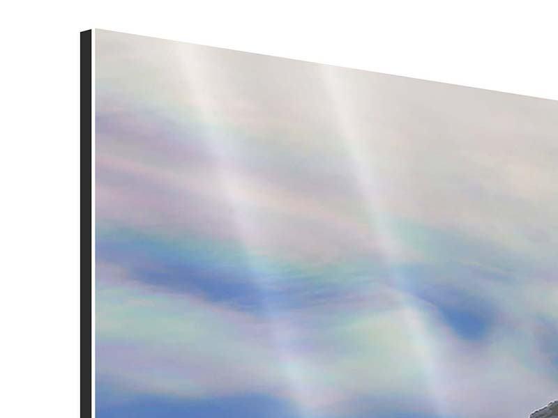 Panorama Aluminiumbild 3-teilig Mit Schneeverwehungen den Berg in Szene gesetzt