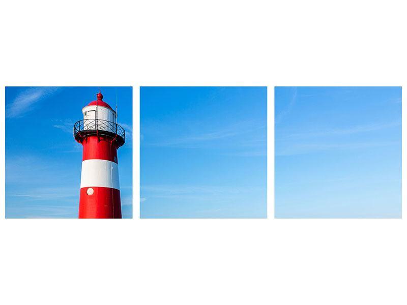 Panorama Aluminiumbild 3-teilig Sommer beim Leuchtturm